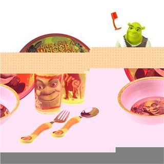 Shrek 2  6 Piece Plastic Dinnerware Set   Plate, Bowl, Tumbler, Fork & Spoon and Sculpted Sports Bottle Toys & Games