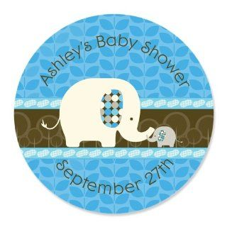 Blue Baby Elephant   24 Round Personalized Baby Shower Sticker Labels: Toys & Games