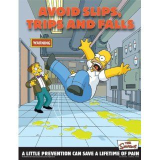 Simpsons Emergency Preparedness Workplace Safety Poster   Avoid Slips Trips and Falls: Industrial Warning Signs: Industrial & Scientific