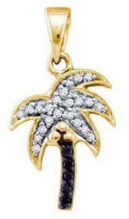"0.12 cttw 10k Yellow Gold Black Diamond Palm Tree Pendant Necklace Comes With 18"" Yellow Gold Plated Filigree Chain (Real Diamonds 0.12 cttw) Jewelry"