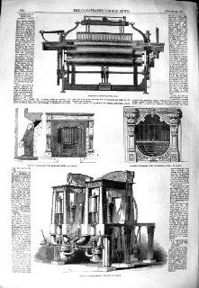 1851 HARRISON'S POWER LOOM STEAM ENGINE PRISMATIC TUBES   Prints