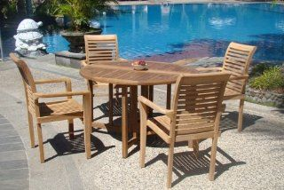 "Grade A Teak Wood luxurious 5 pc Dining Set  48"" Round Table and 4 Stacking Sam Arm Chairs  Outdoor And Patio Furniture Sets  Patio, Lawn & Garden"
