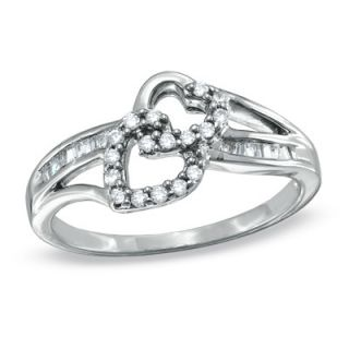 CT. T.W. Diamond Double Heart Promise Ring in 10K White Gold