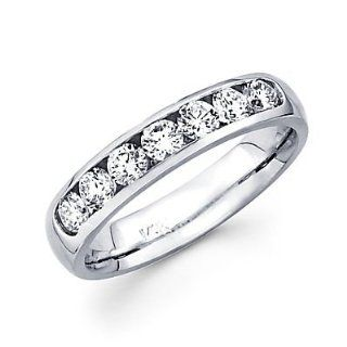 14k White Gold Channel Set 5 Round Diamond Womens Wedding Ring Band 1/2ct (G H Color, I1 Clarity): Jewelry