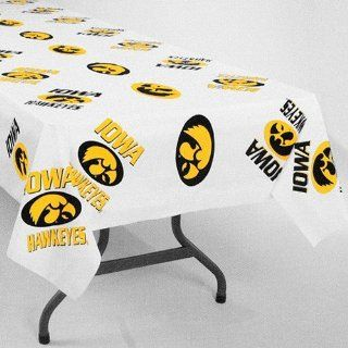 "NCAA Iowa Hawkeyes White Team Logo 54"" x 108"" Plastic Tablecover"
