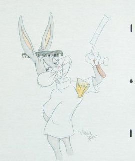 Bugs Bunny   Original Pencil Drawing By Virgil Ross Circa Late 1980's to Early 1990's of Character From Cartoon. Virgil Ross Entertainment Collectibles