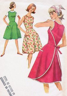 Simplicity 5449 Sleeveless Wrap Dress Jumper Sewing Pattern Vintage 1960s Apron: Everything Else