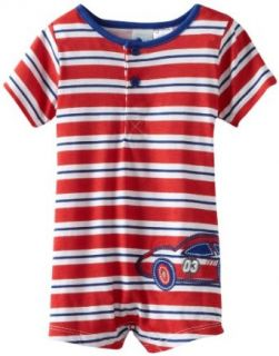 Baby Togs Baby Boys Infant Blue Striped Race Car Romper: Clothing