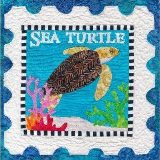 Sea Turtle quilt pattern, colorful appliqued sea turtle quilt with postage stamp style border