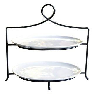 Mesa Home Products 2 Tier Buffet Stand with Oval Porcelain Platters