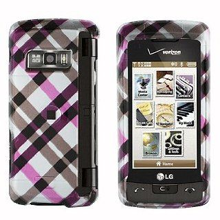 PINK WITH BROWN CROSS PLAID SNAP ON HARD SKIN FACEPLATE PHONE SHIELD COVER CASE FOR LG ENVY TOUCH VX11000 + BELT CLIP: Cell Phones & Accessories