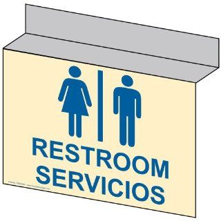 Restroom With Symbol Sign RRB 6990Ceiling BLUonIvory Restrooms  Business And Store Signs