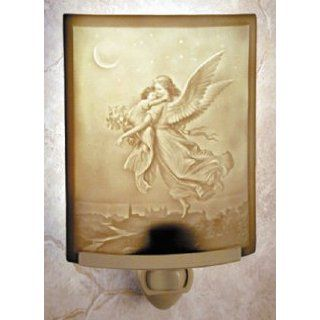 Guardian Angel Lithophane Curved Porcelain Night Light   Porcelain Garden Night Lights