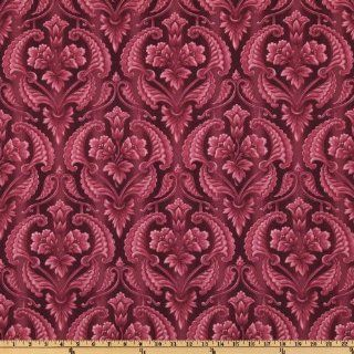 44'' Wide Aubrielle Heart Flower Damask Red Fabric By The Yard: