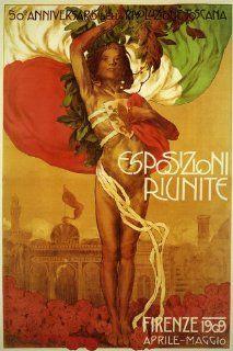 """1909 Firenze Florence Italy Capital City of the Italian Region of Tuscany Travel Italiana Italian 20"""" X 30"""" Image Size Poster Reproduction   Prints"""