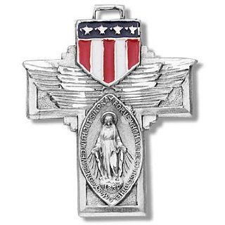 "Sterling Silver Medal Military Miraculous Medal Mother of God St. Mary w/Epoxy Sheild with 24"" Stainless Chain Jewelry"