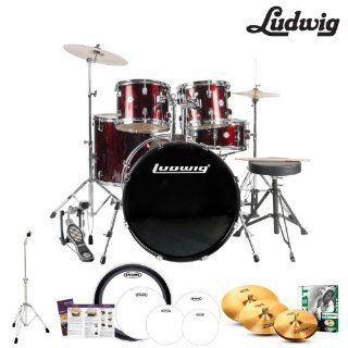 Ludwig Accent Fuse 5 Pc Drum Set (LC1704) Wine Red Sparkle with Hardware, Throne, Zildjian ZBT Cymbals, Sticks & Drumheads: Musical Instruments