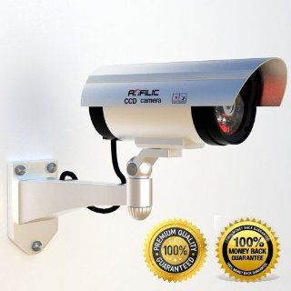 Fake Security Camera that is Waterproof with Blinking Light ★ Best Outdoor and Indoor Dummy Security Camera with Flashing Red LED Light ★ Perfectly appears like a Motion Sensor and Detector CCTV Blinking Simulated Cam ★ Durable and Stu