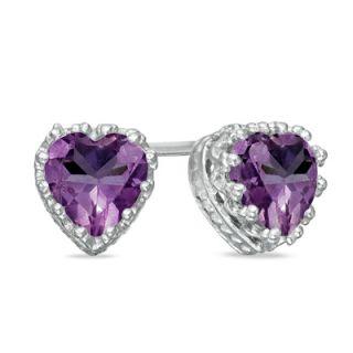 0mm Heart Shaped Amethyst Crown Earrings in Sterling Silver   Zales