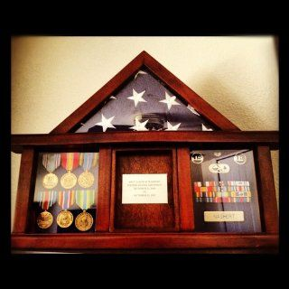 Military Medal Shadow Box with Display Case for 3 x 5ft Flag   Felt in Black, Blue, or Red (Black Selected)   Display Stands