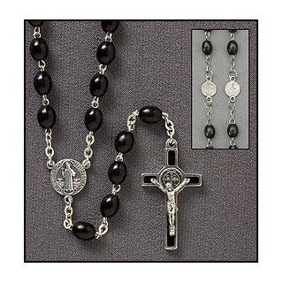 """Catholic Rosary, St. Benedict Oval Black Wood Rosary, Great for Men or Boys. In Addition to the Unconditional Indulgence, a Partial Indulgence Is Given to Anyone Who Will """"Wear, Kiss or Hold the Medal Between the Hands with Veneration"""". Over the"""