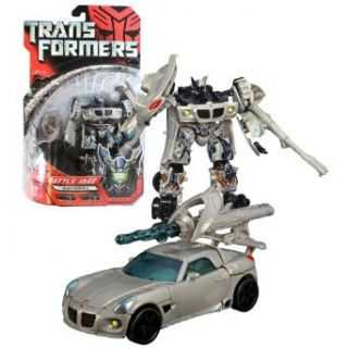 Hasbro Year 2007 Transformers Movie Series 1 Deluxe Class 6 Inch Tall Robot Action Figure   Autobot FINAL BATTLE JAZZ with Spoiler that Becomes Shield and Crescent Cannon that Blasts a Missile (Vehicle Mode: Pontiac Solstice): Toys & Games