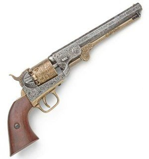 Civil War Model 1851 Naval Pistol with Engraved Silver Tone / Gold Tone Finish and Wooden Grips   Replica of Revolver Used by Both USA / Union and CSA / Confederate Forces   Detailed Metal Prop Gun  Hunting And Shooting Equipment  Sports & Outdoors