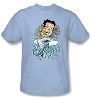 Betty Boop T shirt I Believe In Angels Adult Light Blue Tee: Clothing