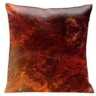 Lama Kasso Como Gardens Rich Earth Tone Marble Swirl Satin 18 Inch Square Pillow, Design on Both Sides   Throw Pillows