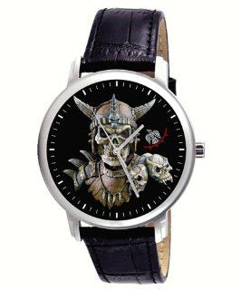 Scary Viking Skull Art Gents Collectible Wrist Watch: Watches