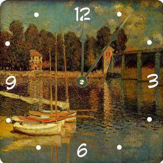 """Rikki KnightTM Claude Monet Art Bridge at Argeneuil Design 13"""" Art Wall Clock"""