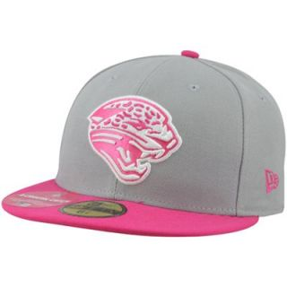 New Era Jacksonville Jaguars Breast Cancer Awareness On Field Player 59FIFTY Fitted Hat   Gray/Pink