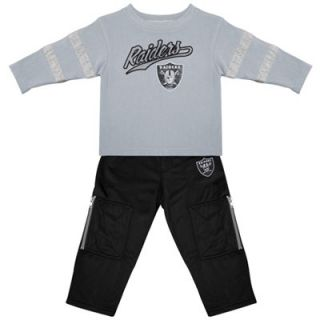 Oakland Raiders Preschool Long Sleeve T Shirt and Pants Set   Gray/Black