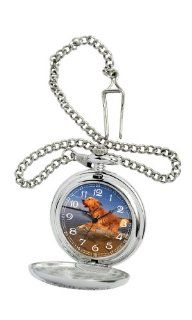 American Kennel Club Men's D1617 Golden Retriever Pocket Watch with Chain: Watches