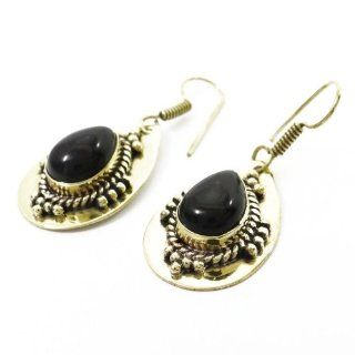 Gold Tone Black Onyx Stone Metal Dangle Earring Set Ethnic Party Wear Fashion Jewelry India Gift Jewelry