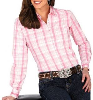 Wrangler Women's Tough Enough To Wear Pink Breast Cancer Awareness Plaid Long Sleeve, Pink, X Small: Clothing