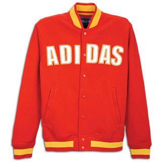 adidas Originals Fleece Varsity Jacket   Mens   Casual   Clothing   Vivid Red/Sunshine