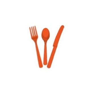 Shop Plastic Cutlery 24 pieces (8 Each Knives, forks & spoons) Party Supplies  Orange at the  Home D�cor Store. Find the latest styles with the lowest prices from IGC