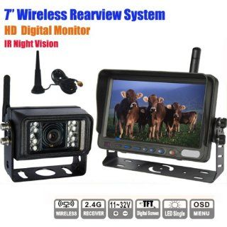 Rupse 7 inch HD Monitor Wireless IR Night Vision Rear View Back up Camera System for RV Truck Trailer Bus or Fifth Wheel  Vehicle Backup Cameras