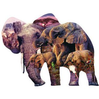 David Penfound Herd of Elephants Shaped Jigsaw Puzzle 1000pc Toys & Games