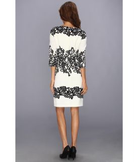Adrianna Papell Fitted Placed Printed Lace Ivory