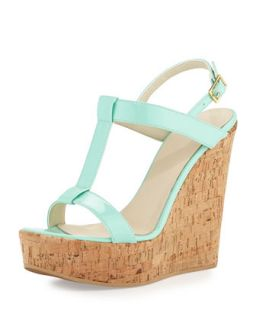 Erin Cork Leather Wedge, Mint   Dee Keller