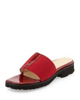 Torte Patent Thong Slide, Red   Taryn Rose   Red (38.5B/8.5B)