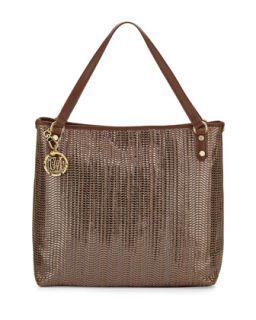 Borsa Metallic Woven PVC Tote Bag, Bronze/Brown   Moschino