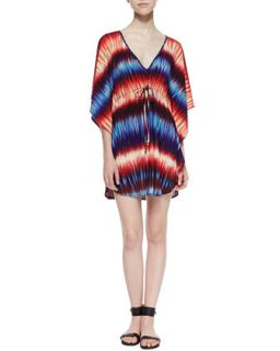 Womens Tyra Fade Print Tie Front Caftan, Blue/Red   Veronica M   Multi (LARGE)