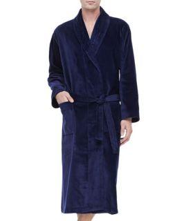 Mens Terry Cloth Robe, Navy   Derek Rose   (XL)