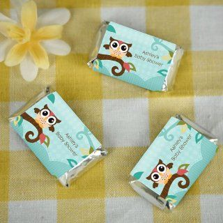 Owl   Look Whooo's Having A Baby   20 Mini Candy Bar Wrappers Sticker Labels   Personalized Baby Shower Favors: Toys & Games