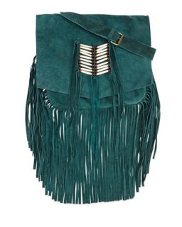 Maria Beaded & Fringed Crossbody Bag, Turquoise   Raj Imports