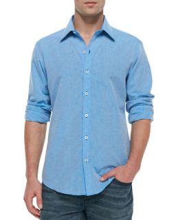 Mens Long Sleeve Linen Cotton Shirt, Blue   Zachary Prell   Blue (XL)