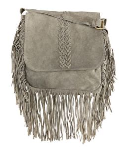 Jessica Suede Fringed Crossbody Bag, Gray   Raj